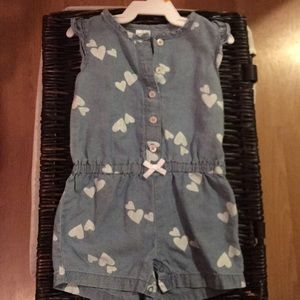 Baby girl's denim romper